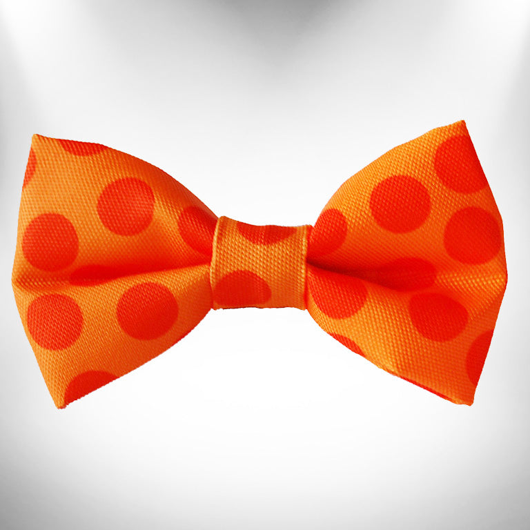 Orange Polka Dot Doggie Bow Tie