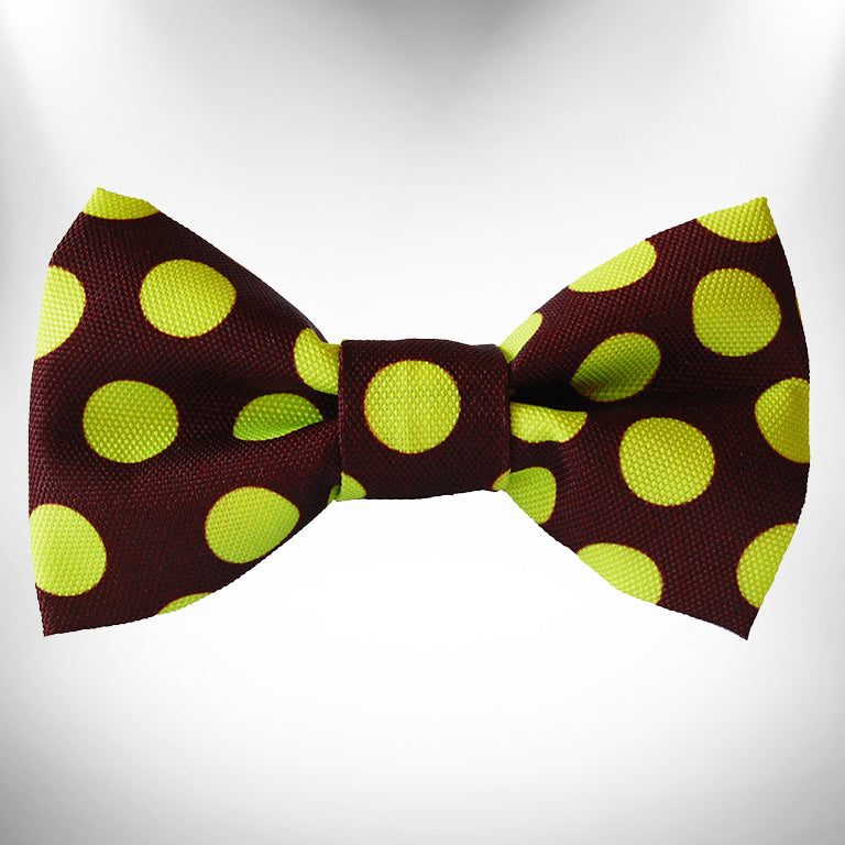 Green Polka Dot on Brown Doggie Bow Tie
