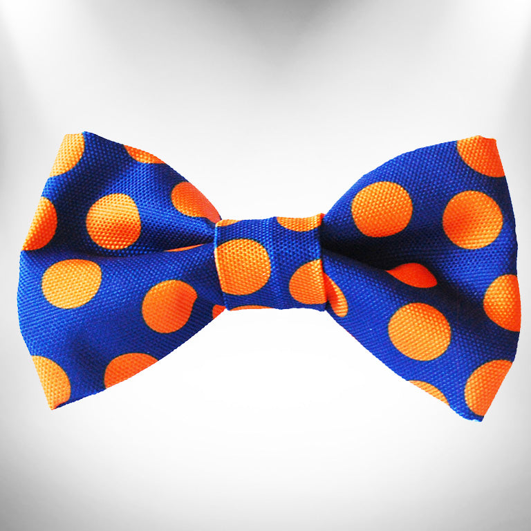 Orange Polka Dot on Blue Doggie Bow Tie