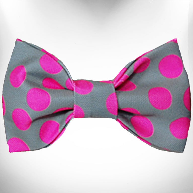 Neon Pink Dots on Grey Doggie Bow Tie