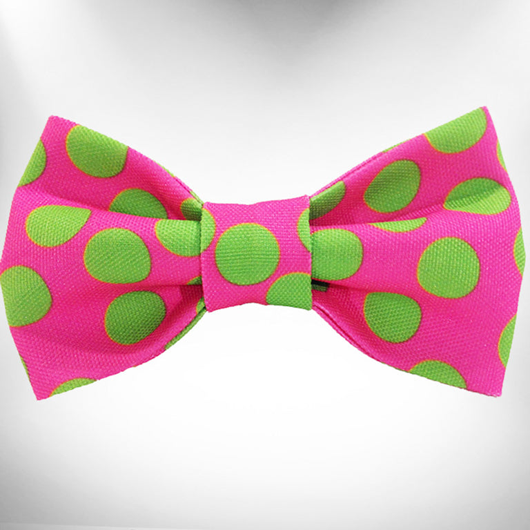 Neon Green Polka Dots on Pink Doggie Bow Tie