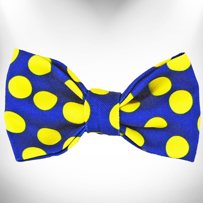 Neon Yellow Polka Dots on Blue Doggie Bow Tie