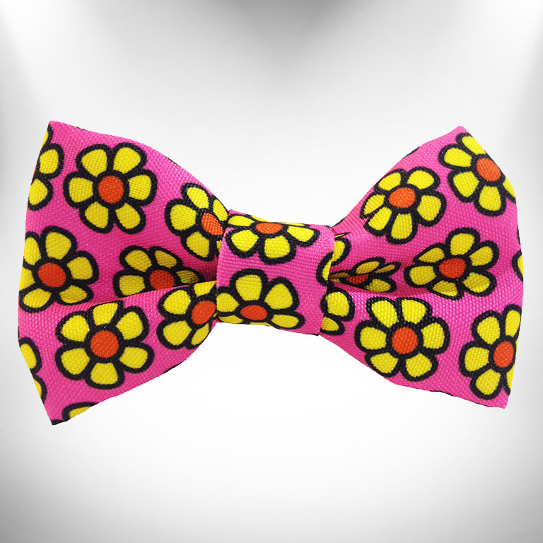 Yellow Daisies on Pink Doggie Bow Tie