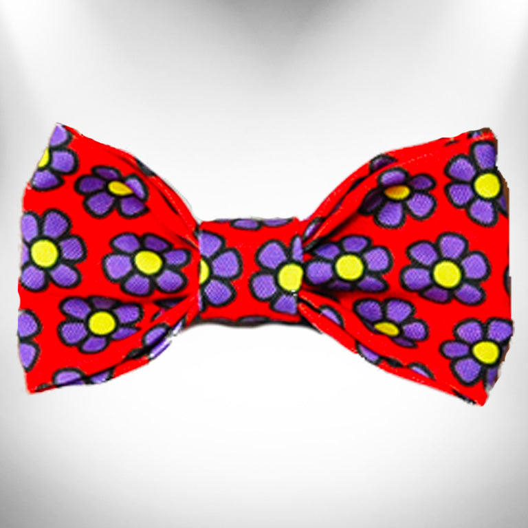 Purple Daisies on Red Doggie Bow Tie
