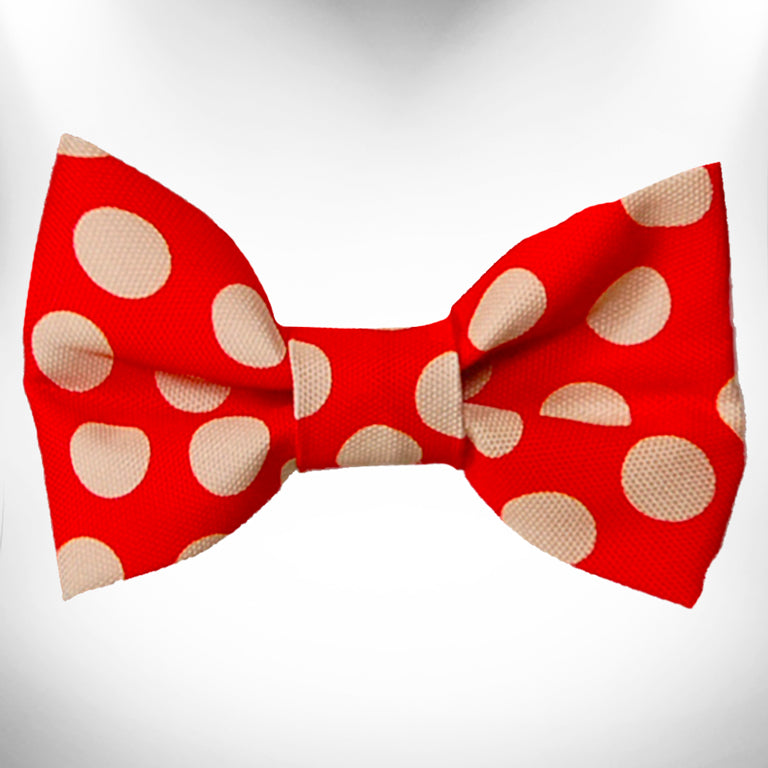 Tan Polka Dot on Red Doggie Bow Tie