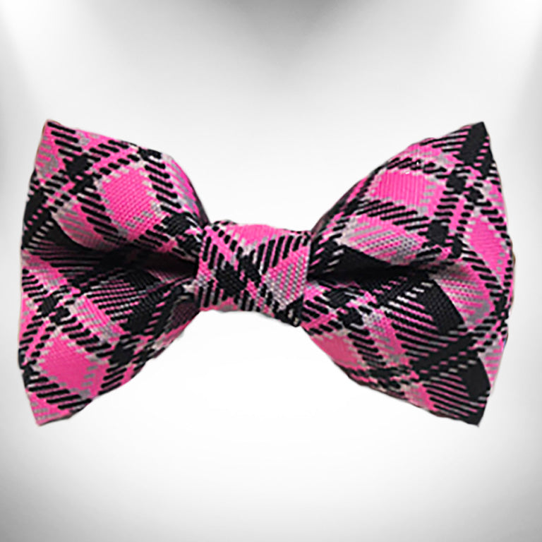 Hot Pink Plaid Doggie Bow Tie