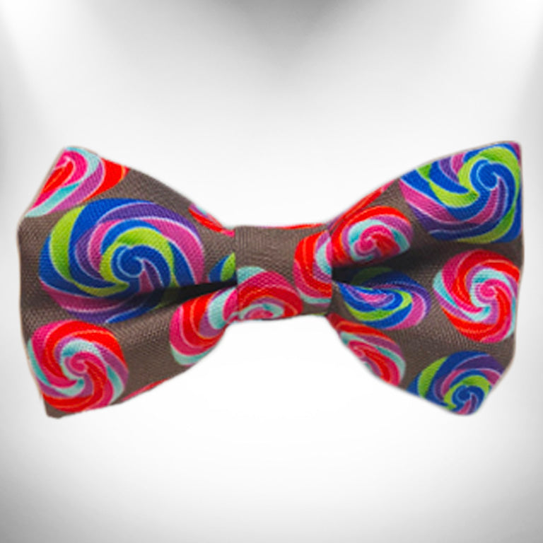 Lollipop on Chocolate Doggie Bow Tie