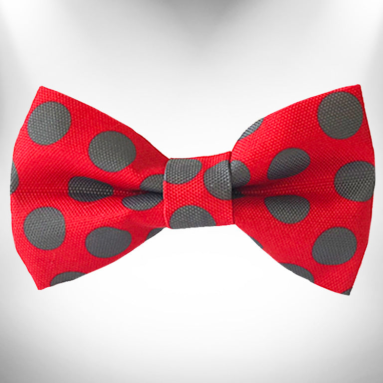 Grey Dots on Red Doggie Bow Tie