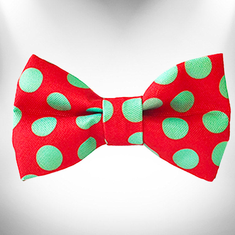 Mint Green Dots on Red Doggie Bow Tie