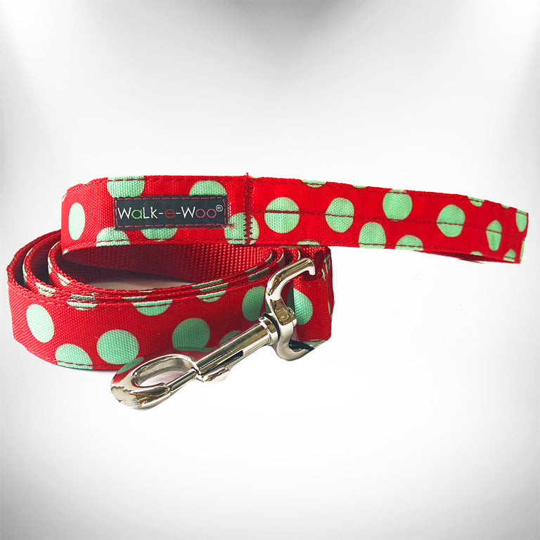 Mint Green Dots on Red Dog Leash