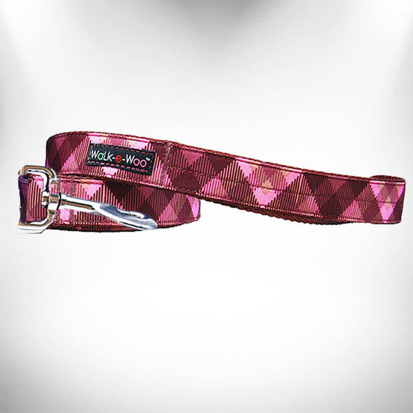 Modern Pink Plaid Dog Leash