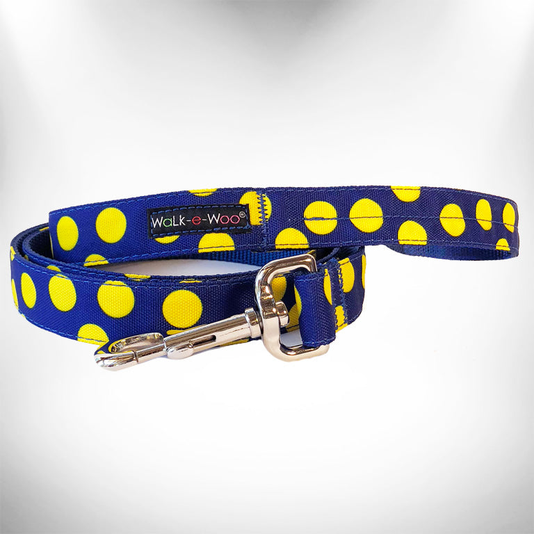 Neon Yellow Polka Dots on Blue Dog Leash