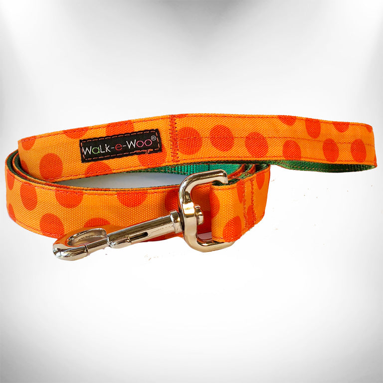 Orange Polka Dot Dog Leash