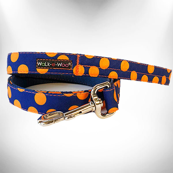 Orange Polka Dot on Blue Dog Leash