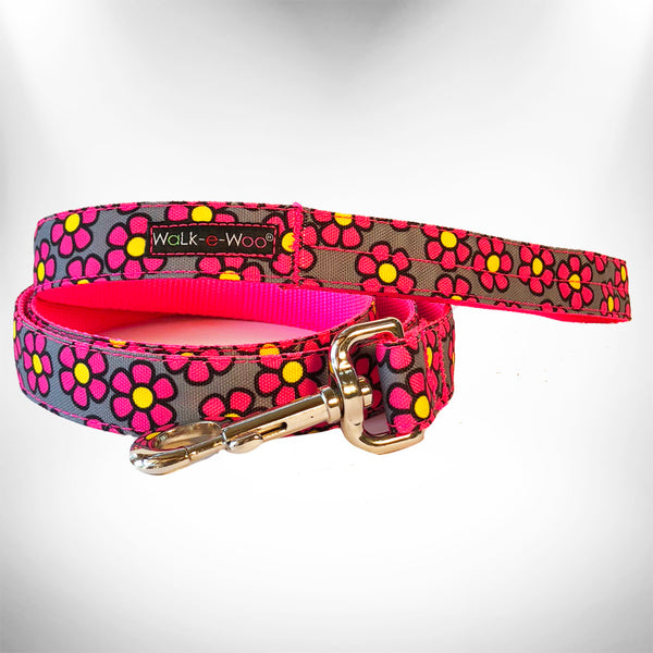 Pink Daisies on Grey Dog Leash