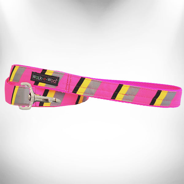 Pink/Grey Stripes Dog Leash
