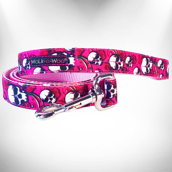 Pink Skulls N Roses Dog Leash