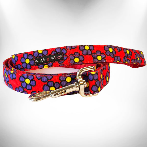 Purple Daisies on Red Dog Leash