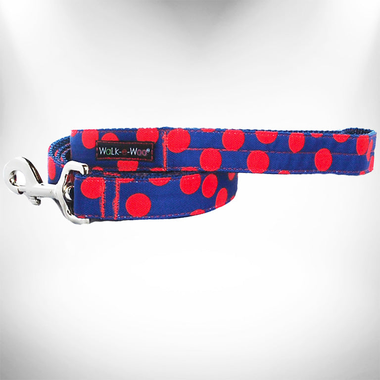 Red Polka Dot on Blue Dog Leash
