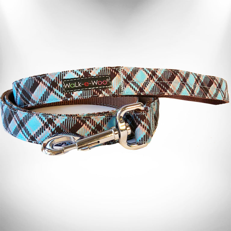 Steel Blue Plaid Dog Leash