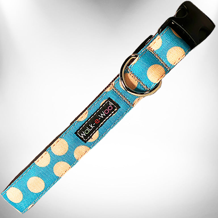 Polka Dot Dog Collars, Tan Dots - 2 Styles