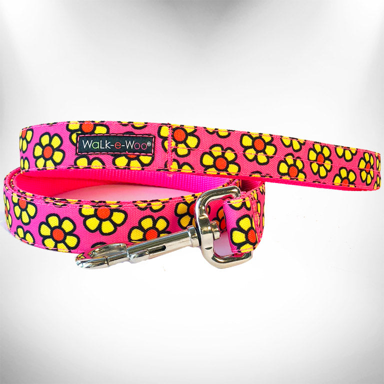 Yellow Daisies on Pink Dog Leash