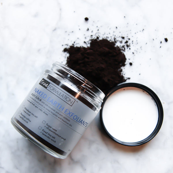 Naked Earth Exfoliants: <br>Peruvian coffee + vanilla