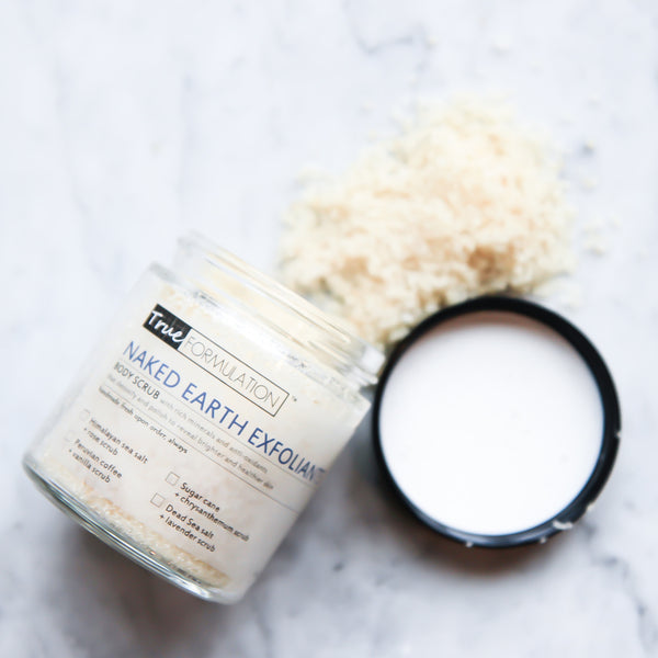Naked Earth Exfoliants: <br>Sugar cane + chrysanthemum
