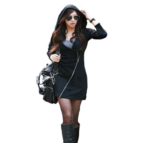 Hoodie Long Sleeve Black Zippered Bodycon Coat Hoodie Long Sleeve Black Zippered Bodycon Coat, Women - Apparel - Dresses - Casual, Goto Hoodie, GoTo Hoodie - GOTO HOODIE