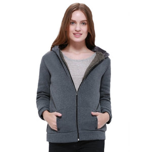 Casual Outerwear Deep Gray Thicken Hoodie - Womens - GOTO HOODIE