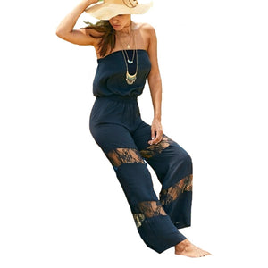 Sylyish Strapless Lace Splicing Black Jumpsuit - Womens - GOTO HOODIE