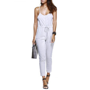 Casual Spaghetti Strap Buttoned White Jumpsuit - Womens - GOTO HOODIE