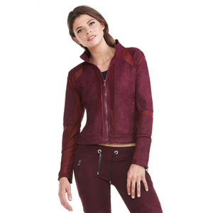 Electric Yoga Burgundy Suede & Mesh Bikers Jacket - Goto Hoodie