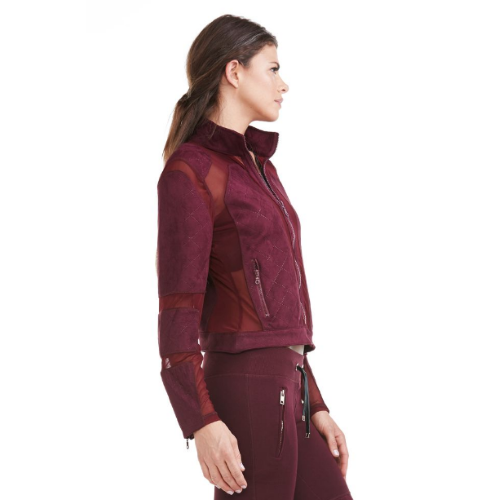 Electric Yoga Burgundy Quilted Seude Joggers and Mesh Bikers Jacket - Goto Hoodie