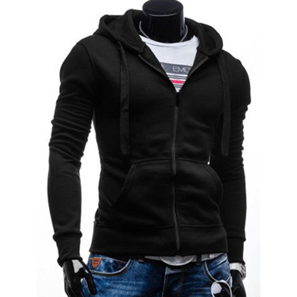 Simple Drawstring Hoodie Fitted Long Sleeves Full Zip - Men Simple Drawstring Hoodie Fitted Long Sleeves Full Zip - Men, Men - Apparel - Hoodie - Full Zip, Goto Hoodie, Style Advantage - GOTO HOODIE