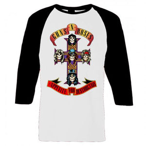 Guns N' Roses Appetite Cross Raglan Guns N' Roses Appetite Cross Raglan, Men - Apparel - Shirts - T-Shirts, Bravado, Style Advantage - GOTO HOODIE