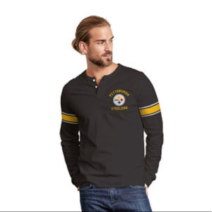 Vintage Pittsburgh Steelers Huddle Long Sleeve Henley Shirt