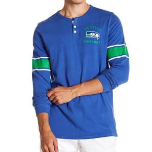 Vintage Seattle Seahawks Huddle Long Sleeve Henley Shirt