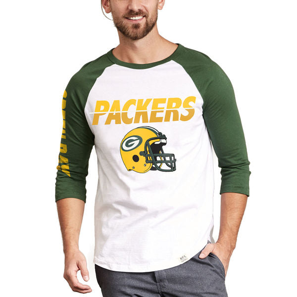 Green Bay Packers Raglan Green Bay Packers Raglan, Men - Apparel - Shirts - T-Shirts, Junk Food Clothing, Style Advantage - GOTO HOODIE