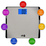 EatSmart Precision 550 Extra Wide Digital Scale w/ 550 LB Capacity Stainless Steel