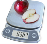 EatSmart Precision Elite Digital Kitchen Scale Weighing an Apple