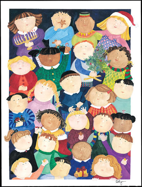 Children from many lands gather together to celebrate the holidays in this hand-painted original artwork