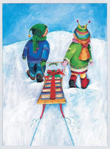 Sled of Books Holiday Cards