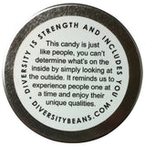 Bottom of Diversity Beans tin with diversity quote