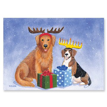 Dogs with Antlers Interfaith Holiday Greeting Cards