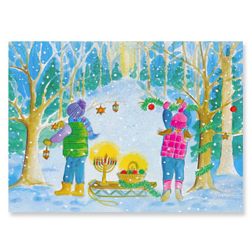 Kids in Woods Interfaith Holiday Greeting Cards