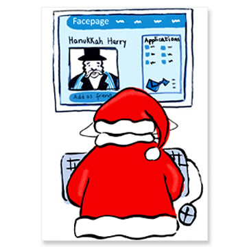 Santa on Facebook Interfaith Holiday Cards