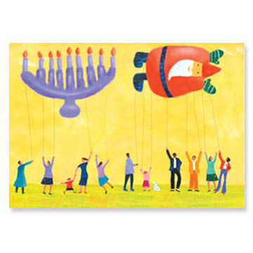 Menorah & Santa Holiday Balloons Interfaith Holiday Greeting Cards