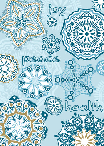Contemporary designs in subtle shades of blue surround themes of holiday wishes: Health, Peace, Joy