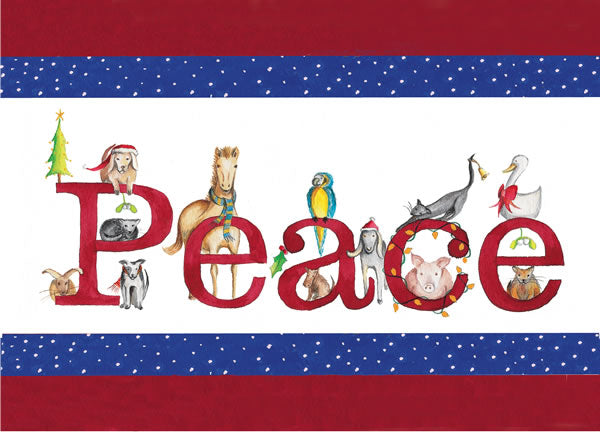 PEACE Animals Holiday Cards
